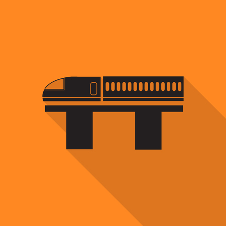 snowcapped mountain: train icon with long shadow.
