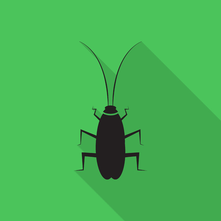 cockroach: cockroach icon with long shadow. Illustration