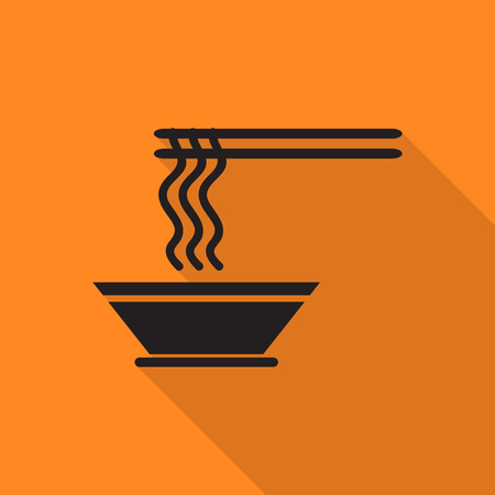 thai noodle: bowl ramen icon with long shadow.