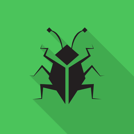 debugging: bug flat icon with long shadow Illustration