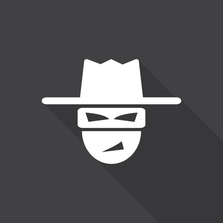 threat: hacker icon with long shadow. Illustration