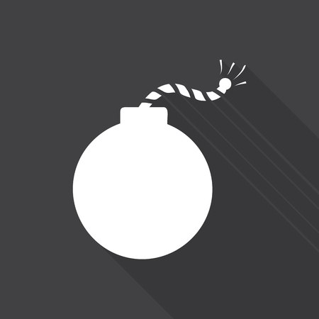 ignited: Bomb icon illustration with long shadow