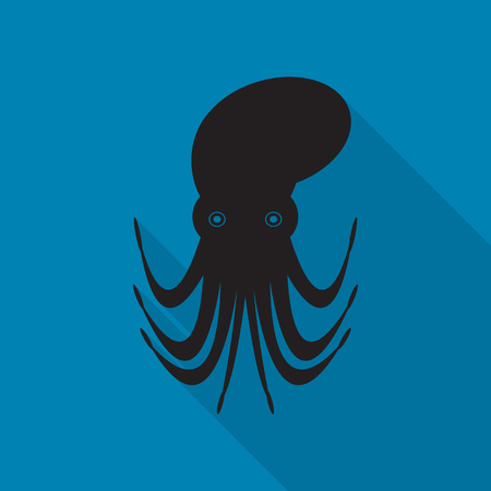 clam illustration: sea life icons with long shadow.