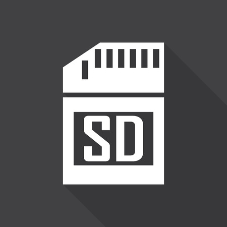 sd card: Micro sd card Icon with long shadow. Illustration