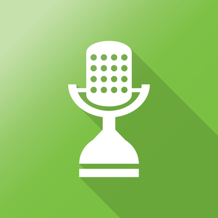 podcasting: microphone icon with long shadow.