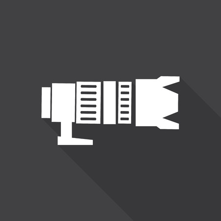 camera icon with long shadow. Illustration
