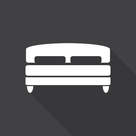 double bed: double bed, web icon with long shadow.