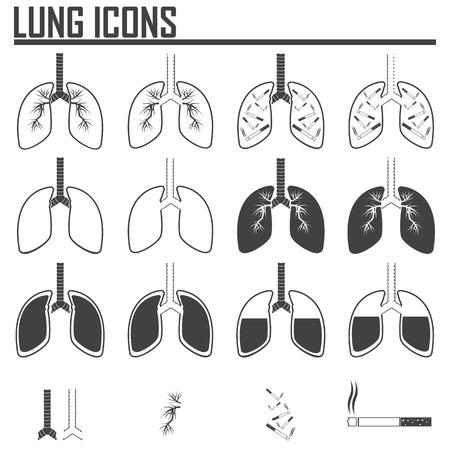 poumon humain: Human Lung Icons Set.vector illustration.