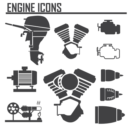 engine pictogrammen instellen vector illustratie.