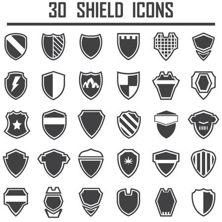 escudo: Iconos del blindaje. Vectores
