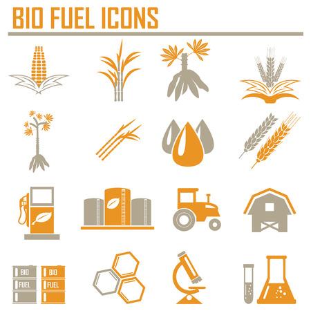 bio diesel: Vector bio fuels refinery plant , bio diesel , icons