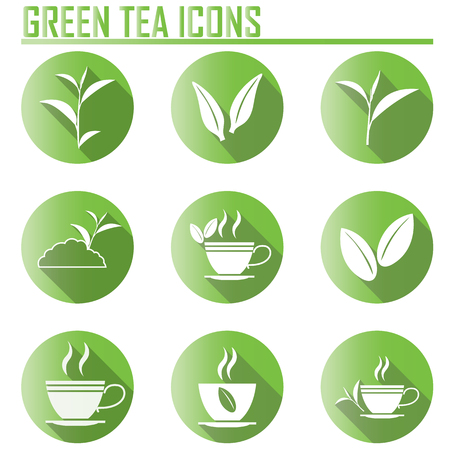 ceylon: Green tea symbols and icons with long shadow. Illustration