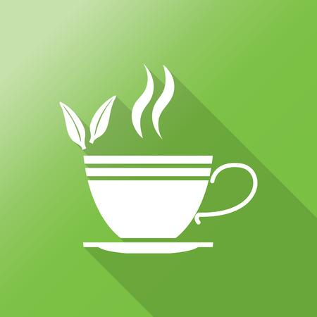 ceylon: Green tea symbols and icons with long shadow. Illustration