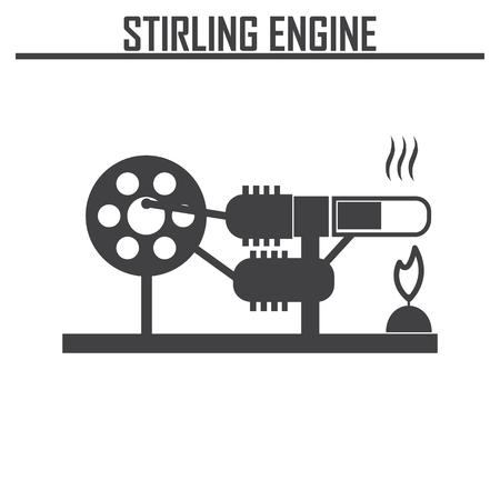 thermodynamic: Stirling Engine vector icon. Illustration