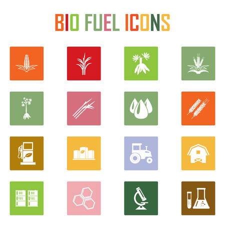 oil crops: Vector bio fuels refinery plant , bio diesel , icons