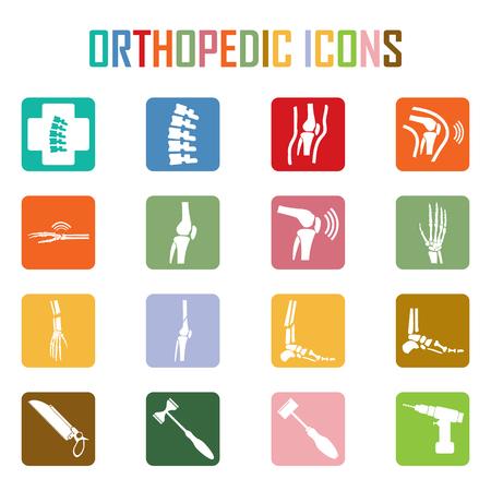 esqueleto: Ortopédica y columna vertebral símbolo - ilustración vectorial, Colección del esqueleto humano.