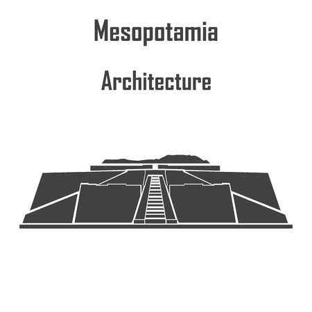Mesopotamia architecture, ziggurat icon vector.