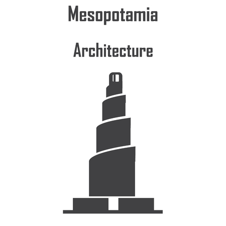 Mesopotamia architecture, ziggurat icon vector.