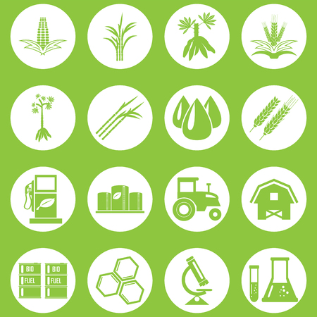 oil crops: bio fuels refinery plant , bio diesel , icons Illustration