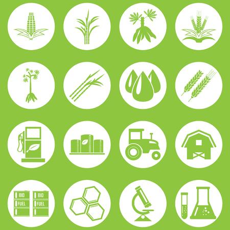 biobrandstoffen raffinaderij, biodiesel, pictogrammen Stock Illustratie