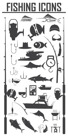 Fishing icons set Vector Illustration