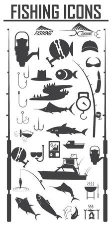 icônes de pêche fixées Vecteurs