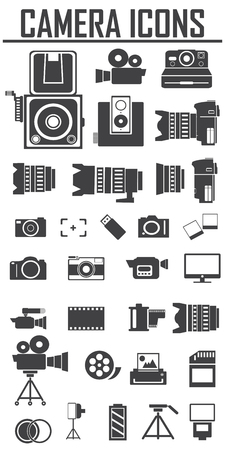 vdo: camera and Video icons set , Big pack Illustration
