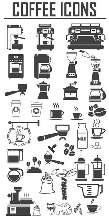 coffee icons set. Big pack