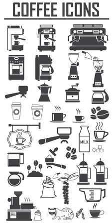 Zestaw ikon kawy. Duża paczka