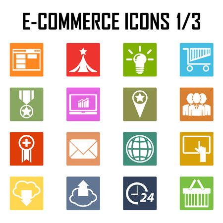 ecommerce icons: shopping, e-commerce color icons. Illustration