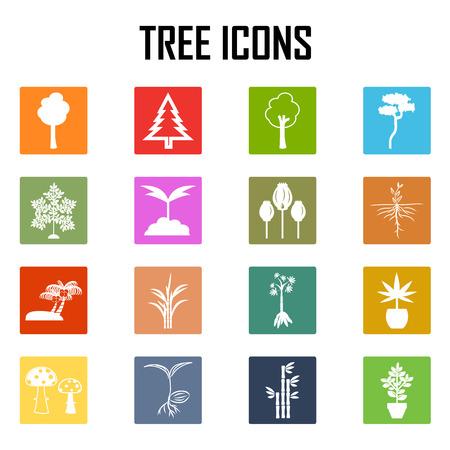 natura: Tree icons set. vector illustration. Illustration