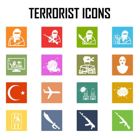 hijacking: Hijacker Terrorist Airplane car bomb,vector Icon Clipart Illustration