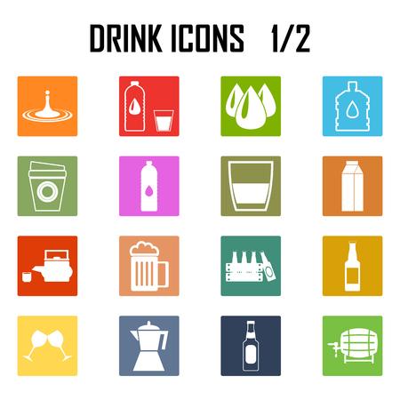 carbonated beverage: drinks icon set . Illustration