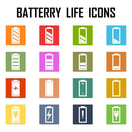 Set of battery charge level indicators. Vector illustration.  イラスト・ベクター素材