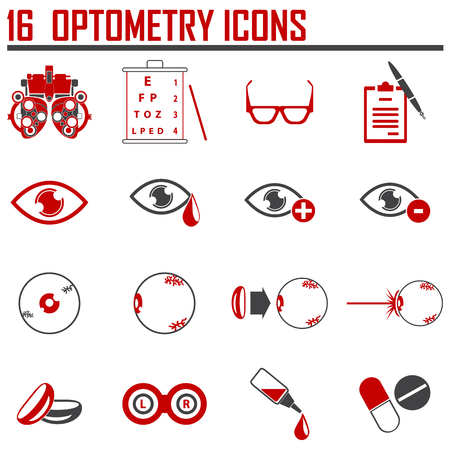 optometry: optometry red  icons set