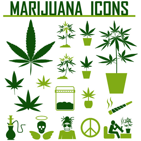 canabis: marijuana, Cannabis icons. vector illustration Illustration