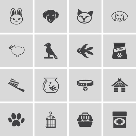 singing bowls: Pets icons set Elegant series Illustration