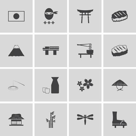 japanese garden: Japanese theme icon set Illustration