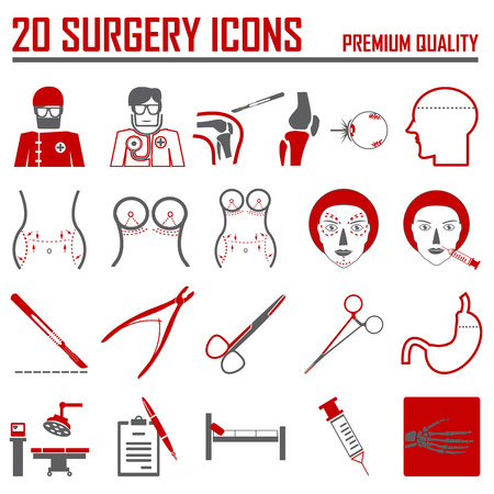 slit: vector surgery icons set. Illustration