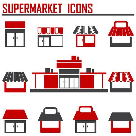 boutique unique, magasin de magasin, icônes vectorielles supermarché mis