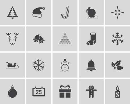 year: Vector Set  New Year and Christmas Icons