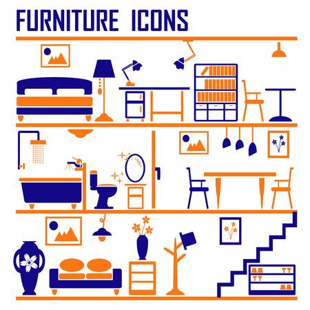 closets: furniture icons set vector.