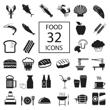 supermarket: food , drink , seafood 32 icons