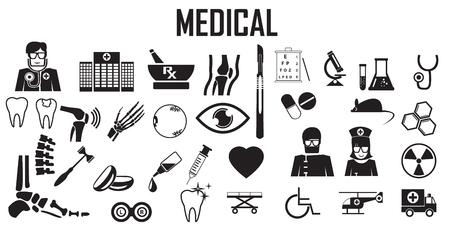 Medical hospital doctor health care diagnosis disease anatomy , orthopedic, optic, dentist, lap, ambulance  flat icons. mono vector symbol