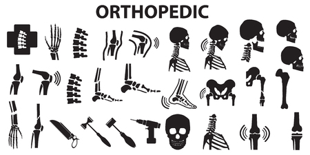 Orthopedic spinal joint bone human medical health care  flat icons. mono vector symbol  일러스트