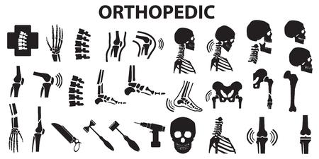 Articulación espinal ortopédica hueso iconos de atención médica médica humana. mono vector símbolo