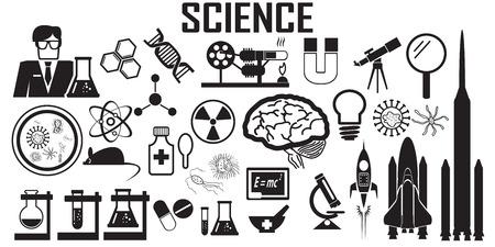 Wetenschap plat pictogrammen. mono vector symbool