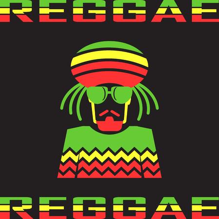 Reggae flat icons. mono vector symbol Stock Illustratie