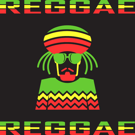 Reggae flat icons. mono vector symbol Illustration