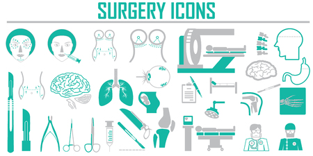 surgery  plastic vector icon set.
